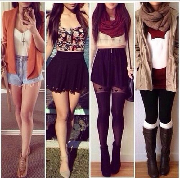 skirt blouse necklace scarf leggings coat boots sweater mickey mouse