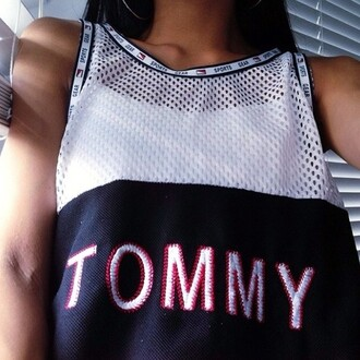 soft ghetto tommy hilfiger perforated white blue red sportswear sports top
