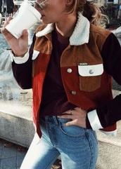 jacket,corduroy,red,brown,sheepskin,burgundy,70s style,coat,colorful,style,peter,nude,cute,faux fur,need ,minimalist,winter outfits,leather jacket,bordeau,velvet,black red tan sherpa lined jacket,starbucks coffee,sherpa,starbucks logo