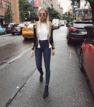 jacket tumblr black jacket military style denim jeans blue jeans skinny jeans t-shirt white t-shirt boots black boots ankle boots shoes