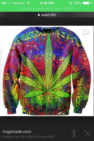 sweater weed crewneck bright rasta kush