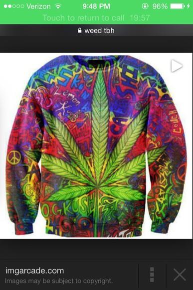sweater rasta weed crewneck bright OG kush