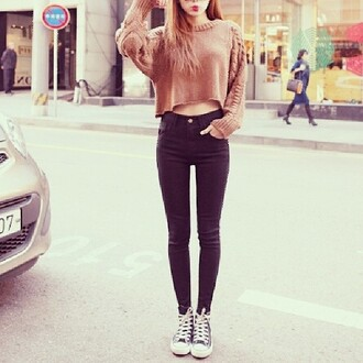 black jeans jeans sweater cropped sweater knitted jumper pants
