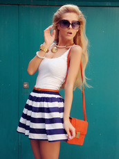 sirma markova,t-shirt,skirt,bag,belt,shoes,jewels,sunglasses,dress,dress style fashion,style,fashion,ootd,white ladies sleeveless stripe casual cocktail dress,casual,beautiful stripe,cocktail,comfortable for daily,fashion & street style,girl's love,new arrival