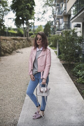 once upon a time blogger jacket jeans bag coat handbag pink jacket grey sweater skinny jeans fall outfits
