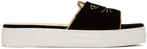 charlotte olympia pool black velvet shoes