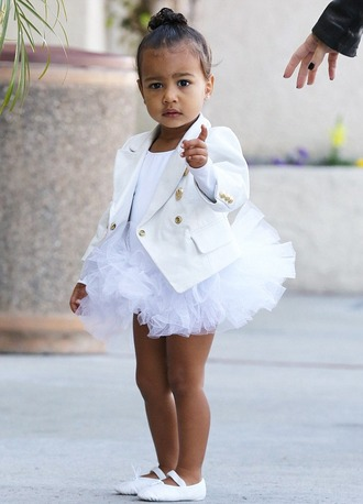jacket kids north west ballet flats all white everything kids fashion celebrities in white