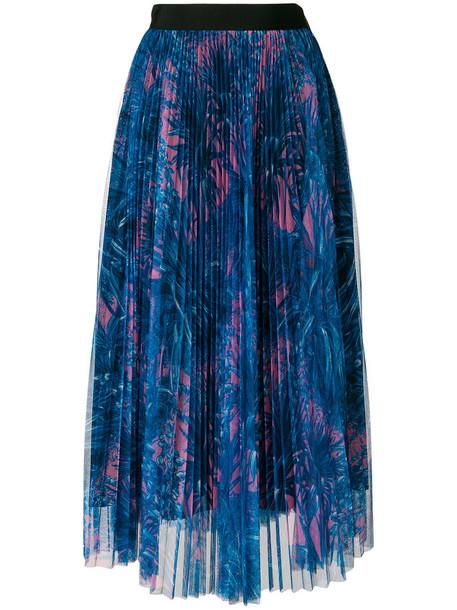 MSGM skirt tulle skirt pleated women print blue