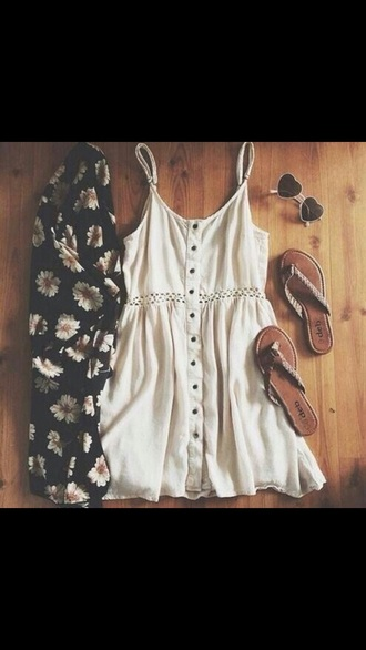 dress white white dress off-white dress buttons button down cute off-white boho chic boho dress indie boho spaghetti strap sleeveless dress spring dress summer dress cute dress cardigan