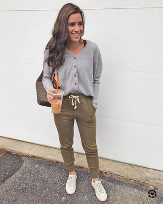 pants casual khaki khaki pants lounge wear top grey top sneakers white sneakers low top sneakers sweatpants