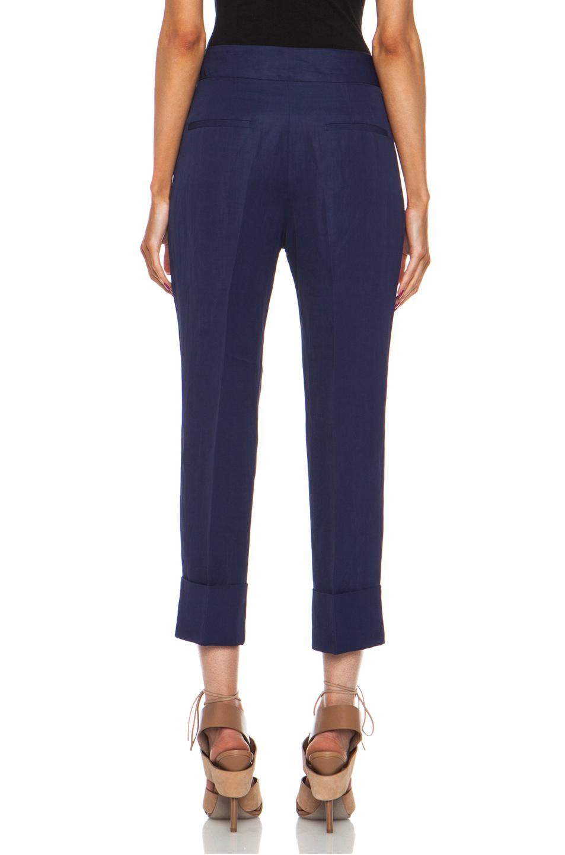 Acne Studios Saviour Linen-Blend Trouser in Midnight Blue