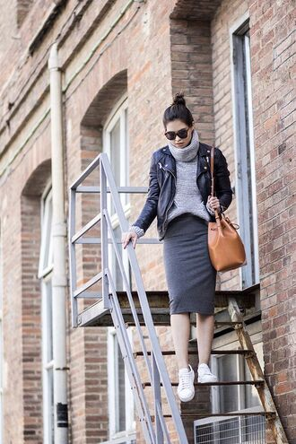 bag bucket bag leather bucket bag grey pencil skirt leather jacket cowl neck sweater white sneakers top knot bun mansur gavriel knitted skirt grey knitted sweater black leather jacket sunglasses sweater jacket