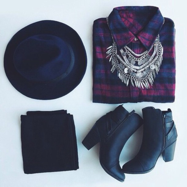 hat big necklace shirt boots jewels shoes black checkered check shirt top