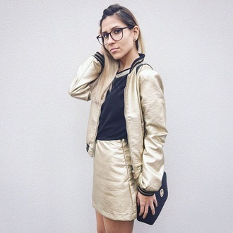 jacket zaful bomber jacket satin bomber gold metallic metallic pleated skirt outfit outfit idea ootd