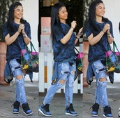 jeans,india westbrooks,illnation,blue x black,hollywood,sneakers,handbag,shirt,busy,$$$$,clothes,shoes,bag,boyfriend jeans,ripped jeans