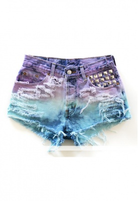 RUNWAYDREAMZ > RUNWAYDREAMZ Vintage Dyed Studded Short @ Singer22.com - Fashion Men's & Women's Online Clothing Store