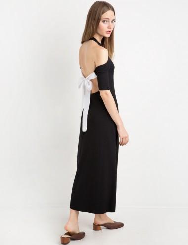 Black Tie Back Midi Dress