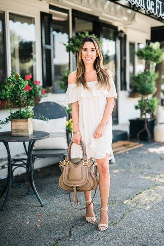 dress mini dress summer dress summer outfits summer white beige dress white dress off the shoulder off the shoulder dress