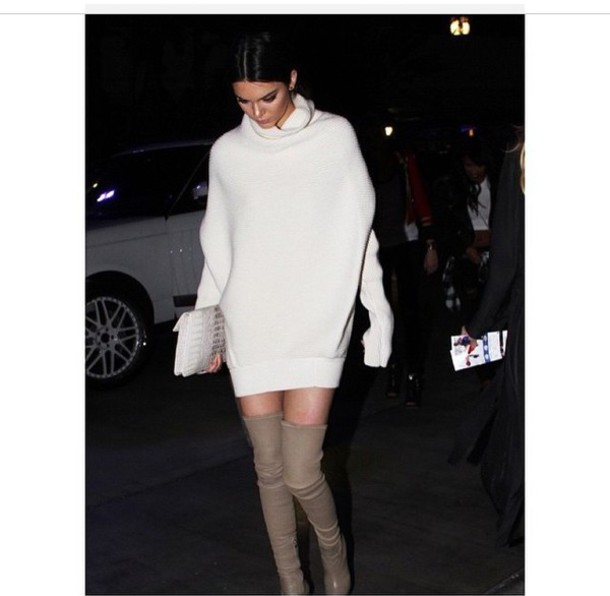 kendall jenner sweater dress thigh high boots dress