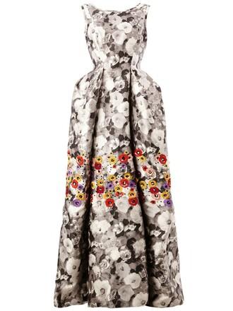 gown floral print black dress