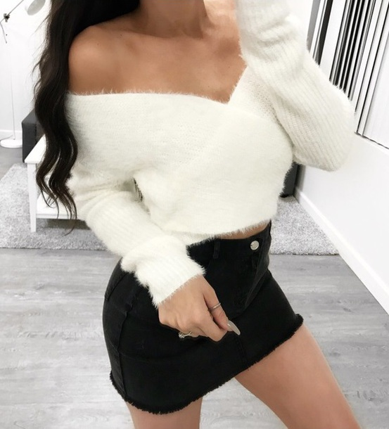 sweater findit whitefluffysweater white fluffy white sweater cropped sweater cute
