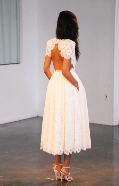 dress white lace dress backless dress midi dress pretty lace backless white formal short sleves ankle length white lace backless midi