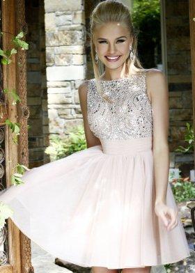 Elegant high neck nude open back a line tulle short prom dress [sh