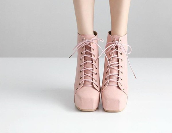 Pastel Pink Ankle Boots Shoes Laceup Boots Pink Pastel
