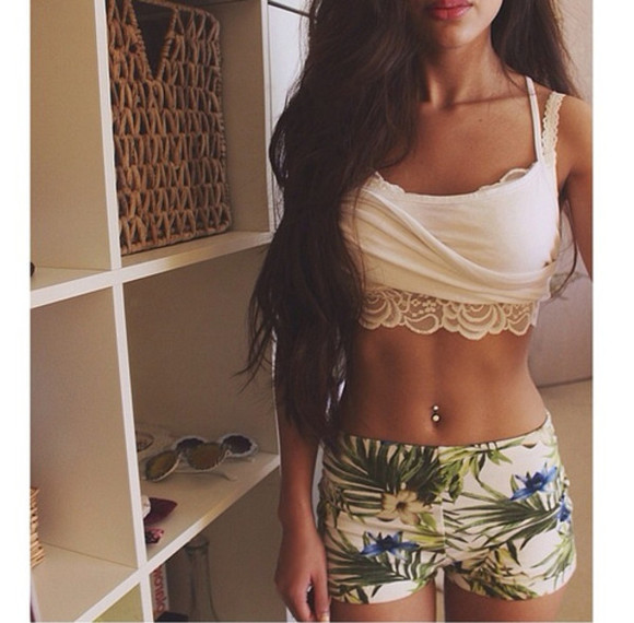 green top short tank top palm leaf floral blouse