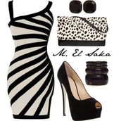 dress,black and white,bodycon dress,striped dress,leopard print