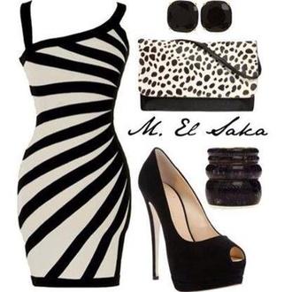 dress black and white bodycon dress striped dress leopard print