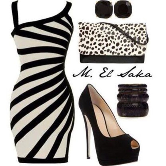 dress striped dress bodycon dresses leopard print black and white