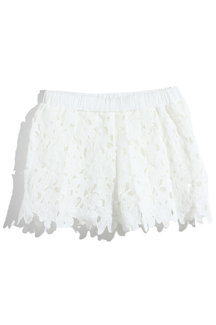 ROMWE | Cut-out Floral Lace White Shorts, The Latest Street Fashion