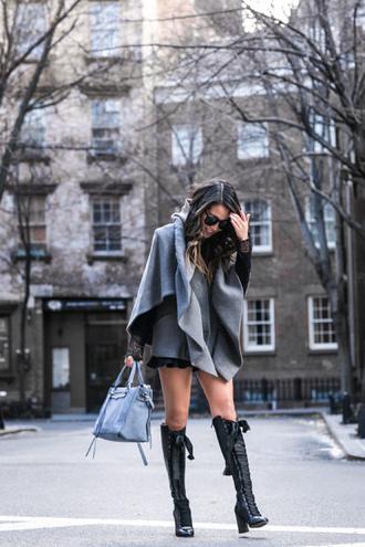 wendy's lookbook blogger top jacket bag shoes sunglasses handbag boots blue bag winter outfits