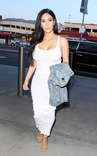 dress maxi dress kim kardashian white dress sandals jacket
