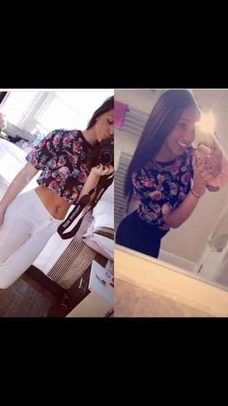 t-shirt floral crop tops crop black pink oversized flowers girl summer grunge hipster tumblr girl jeans