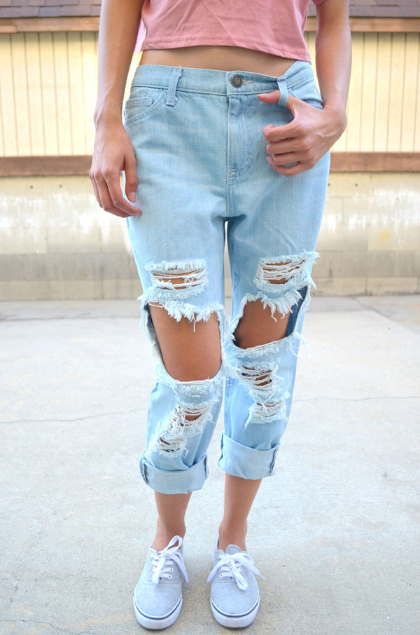 Women Distressed Destroyed Ripped Hole Straight-Leg Nine Points ...