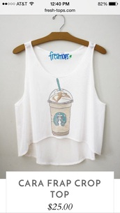 top,all white with a starbucks cup in the front of the shirt
