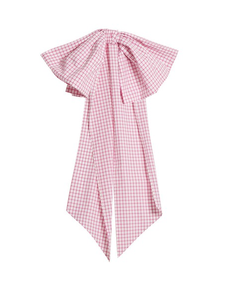 DOVIMA PARIS bow embellished belt cotton gingham white pink