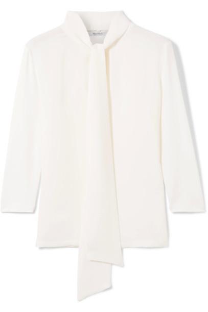 Max Mara blouse bow white silk knit top