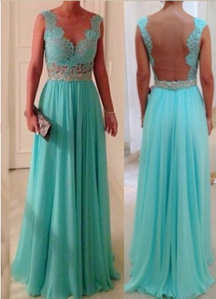 Amazing Blue chiffon Lace Rhinestone Floor-Length Prom Dress, Evening Dress