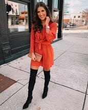 dress,mini dress,red dress,over the knee boots,black boots,mini bag