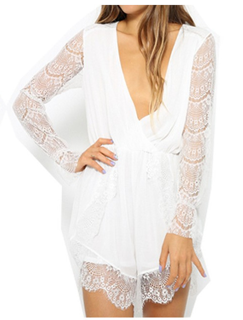 The latest version of bud silk chiffon long sleeve conjoined shorts