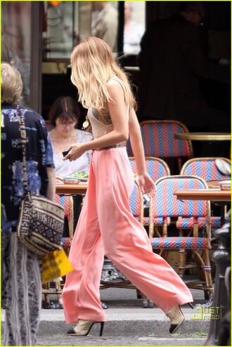 pants wide leg peach pants coral pants designer gossip girl blake lively wide-leg pants