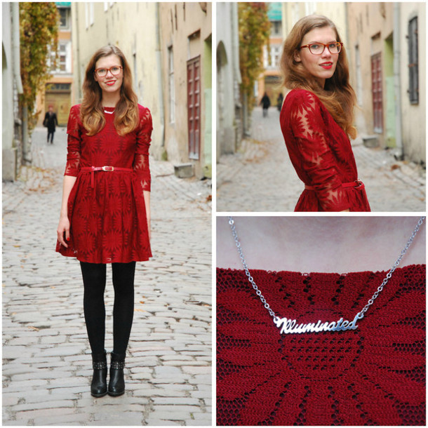 dress prom dress prom lace skater necklace letters red dress glasses boots pants