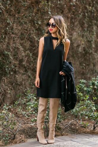 lace and locks blogger dress scarf bag shoes sunglasses black dress knee high boots mini dress