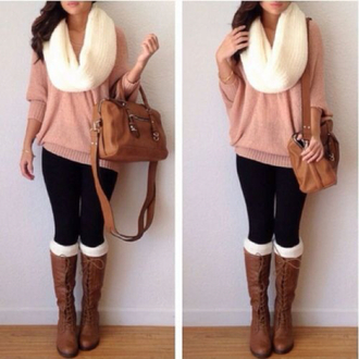 sweater scarf boots knitwear pink salmon oversized spring winter outfits cozy shoes bag socks