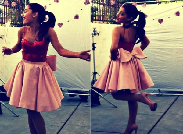 skirt pink red sparkle sequins bow ariana grande