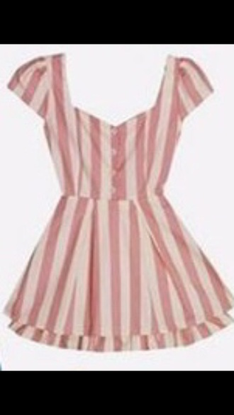 dress pink white vertical stripes short summer