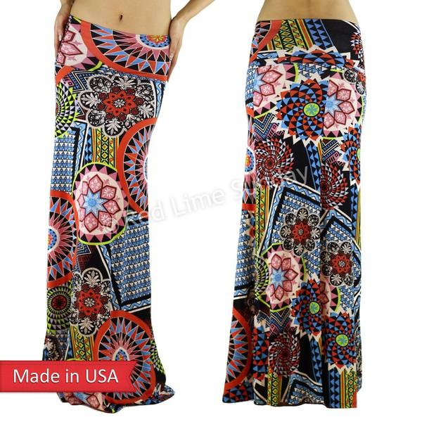 skirt geometric maxi skirt fold over skirt soft pop mandara stars long skirt floral rayon multicolor trendy boho gypsy